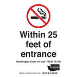 Brady B-401 Polystyrene Rectangle White No Smoking Sign - 5 in Width x 7 in Height - 104991