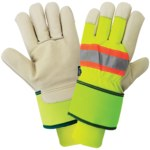 Global Glove 2900HVDC HV Yellow/Green Large Grain Pigskin Leather Cold Condition Gloves - 2900HVDC-9(L)