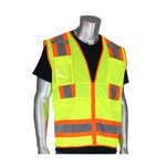 PIP Lime Yellow Small Polyester Mesh High-Visibility Vest - 10 Pockets - Fits 45 in Chest - 24 in Length - 616314-20464