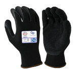 Armor Guys Duty GP 06-021 Black Large Nylon Work Gloves - Latex Palm & Fingers Coating - Rough Finish - 06-021-L