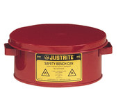 Justrite Red Steel Self-Closing 1 gal Safety Can - 4 1/2 in Height - 9 3/8 in Overall Diameter - JUSTRITE 10375