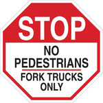 Brady B-555 Aluminum Octagon White Truck & Forklift Warehouse Traffic Sign - 24 in Width x 24 in Height - 124520