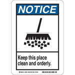 Brady B-555 Aluminum White Keep Clean Sign - 10 in Width x 14 in Height - 49024