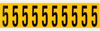 Brady 15 Series 1534-5 Black on Yellow Vinyl Number Label - Indoor / Outdoor - 7/8 in Width - 2 1/4 in Height - 1 15/16 in Character Height - B-946