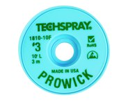 Techspray Pro Wick #3 Green Rosin Flux Coating Desoldering Braid - 10 ft Length - 0.075 in Diameter - Rosin Flux Core - 1810-10F