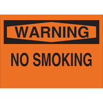 Brady B-302 Polyester Rectangle Orange No Smoking Sign - 10 in Width x 7 in Height - Laminated - 88400
