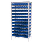 Akro-Mils Shelfmax 2000 lb Adjustable Blue Chrome Steel Open Adjustable Fixed Shelving System - 96 Bins - 2000 lb Total Capacity - AWS183630128 BLUE