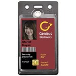 Menda Clear / Black Vertical Badge Holder - 3 1/2 in Overall Length - 2 1/4 in Width - MENDA 35006
