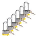 Brady Yellow Steel 5-pin Keyed & Safety Padlock 118946 - 1 5/16 in Width - 1 1/5 in Height - 17/64 in Shackle Diameter - 1 Key(s) Included - 754473-66183