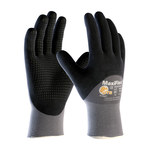 PIP MaxiFlex Endurance 34-845 Black/Gray Large Nylon Work Gloves - EN 388 1 Cut Resistance - Nitrile Dotted Palm & Fingers, Palm & Over Knuckles Coating - 8.9 in Length - 34-845/L