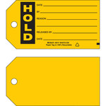 Brady 86747 Black on Yellow Cardstock Production Status Tag - 5 3/4 in Width - 3 in Height - B-853