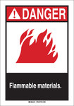 Brady B-120 Fiberglass Reinforced Polyester Rectangle White Flammable Material Sign - 7 in Width x 10 in Height - 45019