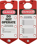 Brady Red Anodized Aluminum Lockout/Tagout Hasp 65970 - 3 in Width - 7 1/4 in Height - 6 Padlock Capacity - 754476-65970
