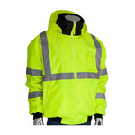 PIP 333-1762LY Yellow Large Polyester (Shell) Work Jacket - 5 Pockets - Rollaway Hood - Fits 31.5 in Chest - 616314-11005