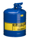 Justrite Blue Steel Leak-Proof, Pressure-Relief Vent, Self-Closing 5 gal Safety Can - 16 7/8 in Height - 11 3/4 in Overall Diameter - 7150300