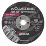 Weiler Weiler Wolverine Aluminum Oxide Cutting Wheel - Type 1 - Straight Wheel - 60 Grit - T Grade - 2 in Diameter - 3/8 in Center Hole -.035 in Thick - 56128