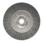 Weiler Steel Wheel Brush 0.008 in Bristle Diameter - Arbor Attachment - 4 in Outside Diameter - 1/2 to 3/8 in Center Hole Size - 00114