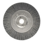 Weiler Steel Wheel Brush 0.0118 in Bristle Diameter - Arbor Attachment - 4 in Outside Diameter - 1/2 to 3/8 in Center Hole Size - 00134