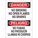 Brady B-120 Fiberglass Reinforced Polyester Rectangle White No Smoking Sign - 14 in Width x 20 in Height - Language English / Spanish - 39817