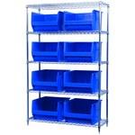 Akro-Mils Akrobin 2000 lb Adjustable Blue Chrome Steel Open Adjustable Fixed Shelving System - 8 Bins - 2000 lb Total Capacity - AWS184830283 BLUE