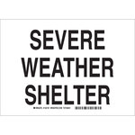 Brady B-401 Polystyrene Rectangle White Tornado & Severe Weather Shelter Sign - 10 in Width x 7 in Height - 132184