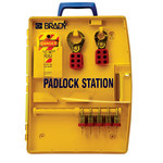 Brady Yellow Polypropylene Padlock Station - 13.25 in Width - 17 in Height - 5 Padlock Capacity - 754476-03457