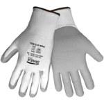 Global Glove Samurai PUG313 Gray/White Large HDPE Cut-Resistant Gloves - ANSI 2 Cut Resistance - Polyurethane Palm & Fingers Coating - PUG313/LG