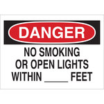 Brady B-120 Fiberglass Reinforced Polyester Rectangle White No Smoking Sign - 20 in Width x 14 in Height - 72133