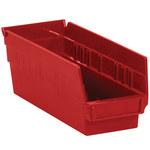 Red Shelf Bins - 11.625 in x 4.125 in x 4 in - SHP-3098