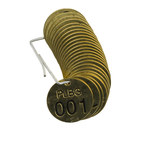 Brady 23260 Black on Brass Circle Brass Numbered Valve Tag with Header Numbered Valve Tag with Header - 1 1/2 in Dia. Width - Print Number(s) = 1 to 25 - B-907