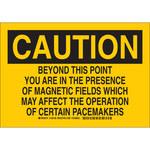Brady B-555 Aluminum Rectangle Yellow Radiation Hazard Sign - 10 in Width x 7 in Height - 129156