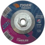 Weiler Tiger Ceramic Grinding Wheel - 24 Grit - 5 in Diameter - 5/8 in - 11 Nut Center Hole - 1/4 in Thick - 58328