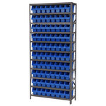 Akro-Mils Shelfmax 6500 lb Adjustable Blue Gray Steel 22 ga Open Adjustable Fixed Shelving System - 80 Bins - 6500 lb Total Capacity - AS1279040 BLUE