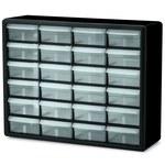 Akro-Mils Black Steel Non-Stackable Bin Cabinet - 6 3/8 in Overall Length - 20 in Width - 15 13/16 in Height - 24 Drawer - Lockable - 10124