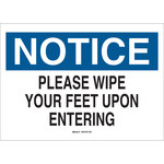Brady B-401 Polystyrene Rectangle White Keep Clean Sign - 10 in Width x 7 in Height - 22806