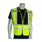 PIP 302-PSV Yellow/Black M/XL Mesh/Solid High-Visibility Vest - 2 Pockets - 616314-07313