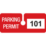 Brady Red Vinyl Pre-Printed Vehicle Hang Tag 96289 - Printed Text = PARKING PERMIT - 4 3/4 in Width - 2 in Height - 754476-96289