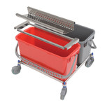 Contec 5 gal Gray, Red Downpress Wringer Bucket Cart System - 2769-KIT