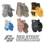 Red Steer Powergrip A301BG Black/Red Large Cotton/Polyester Work Gloves - Rubber Palm Only Coating - Rough Finish - A301BG-L