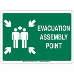 Brady B-120 Fiberglass Rectangle Green IMO Evacuation Sign - 14 in Width x 10 in Height - 139604