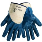 Global Glove 607 Blue 9 Jersey Work Gloves - Nitrile Palm Only Coating - 607/9