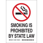 Brady B-555 Aluminum Rectangle White No Smoking Sign - 7 in Width x 10 in Height - 123047