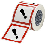 Brady 121208 White / Black / Red Diamond Polyester Chemical Hazard Label - 4 in Width - 4 in Height - B-7541