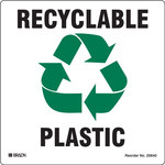 Brady B-7569 Vinyl Square White Recycle & Environment Sign - 5 in Width x 5 in Height - 20640FLS
