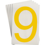 Brady Toughstripe 121906 Yellow Polyester Number Label - Indoor - 6 in Width - 8 in Height - 8 in Character Height - B-514