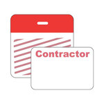 Brady Securalert Red Identification Label 95653 - Printed Text = CONTRACTOR - Clip - 3 in Width - 3 in Length - 754476-95653