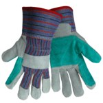 Global Glove 2300DP Brown Large Split Cowhide Leather Work Gloves - Wing Thumb - 2300 DP/LG