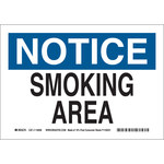Brady B-586 Paper Rectangle White Smoking Area Sign - 10 in Width x 7 in Height - 116028