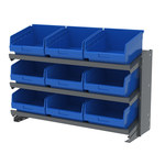 Akro-Mils APRBENCH Blue Gray Steel 16 ga Single Sided Bench Pick Rack - 36 3/4 in Overall Length - 25 in Height - 9 - Bins Included - APRBENCH010