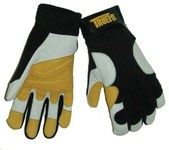 Tillman TrueFit 1490 Pearl/Gold Large Grain Goatskin Leather/Spandex Work Gloves - Leather Palm & Fingertips Coating - 10 in Length - Smooth Finish - 1490L